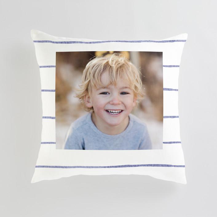 """""""Breton Stripe"""" - Large 24 Inch Photo Pillow in Cornflower by Melissa Selmin."""