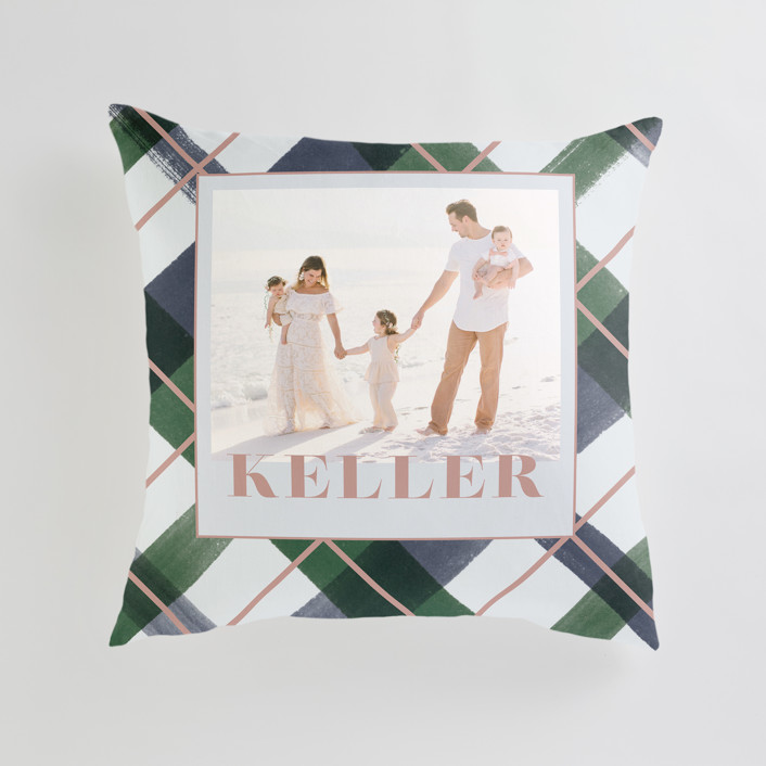 """""""Joyful Plaid"""" - Large 24 Inch Photo Pillow in Ocean by Carrie ONeal."""