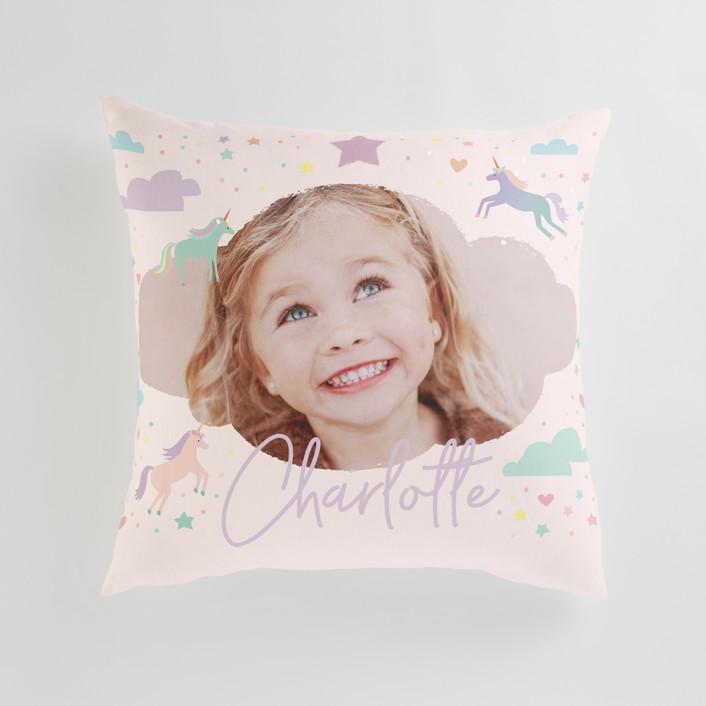 """Unicorn Dreams"" - Large 24 Inch Photo Pillow in Majestic by Jennifer Wick."