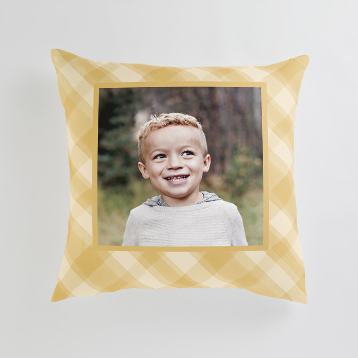 """""""Cadeau"""" - Large 24 Inch Photo Pillow in Mustard by Carrie ONeal."""