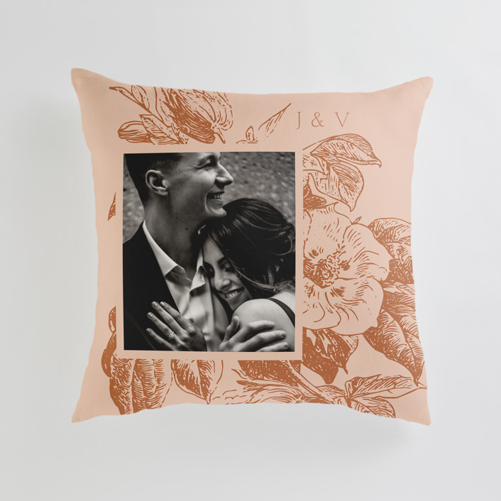 """""""Vintage Romance"""" - Large 24 Inch Photo Pillow in Peach by Nazia Hyder."""