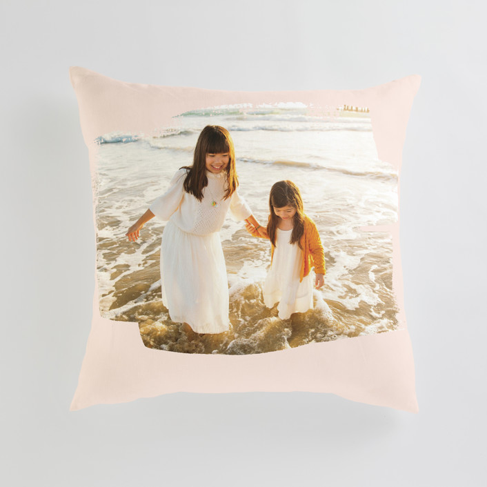 """""""Brushed Photo"""" - Large 24 Inch Photo Pillow in Blush by Oscar and Emma - Karly Depew."""