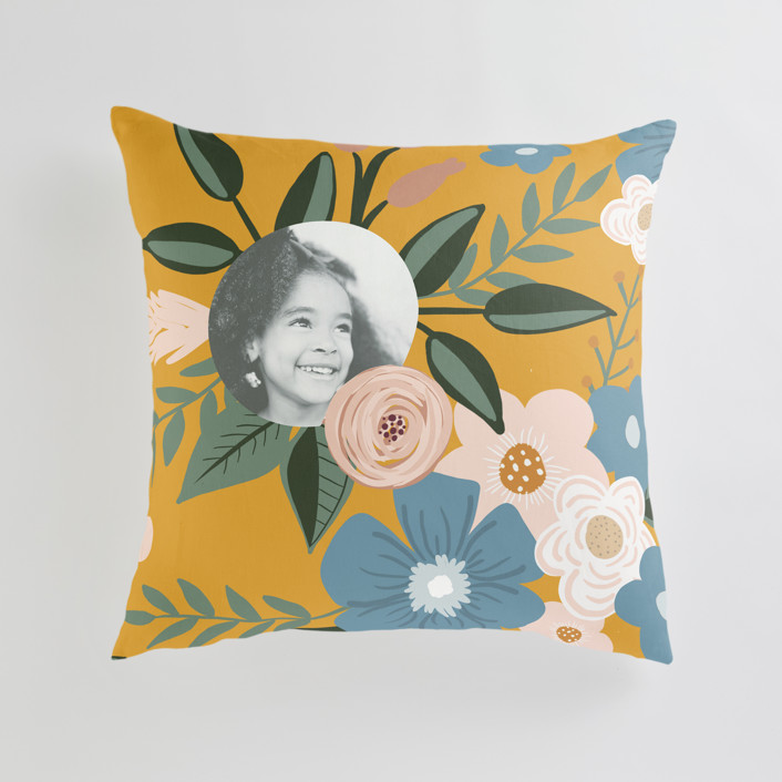 """Vintage Floral"" - Large 24 Inch Photo Pillow in Dandelion by Juliana Zimmermann."