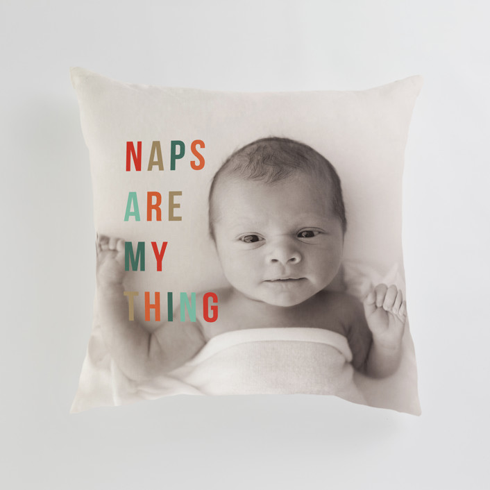 """""""Naps Are My Thing"""" - Large 24 Inch Photo Pillow in Clementine by Christie Garcia."""