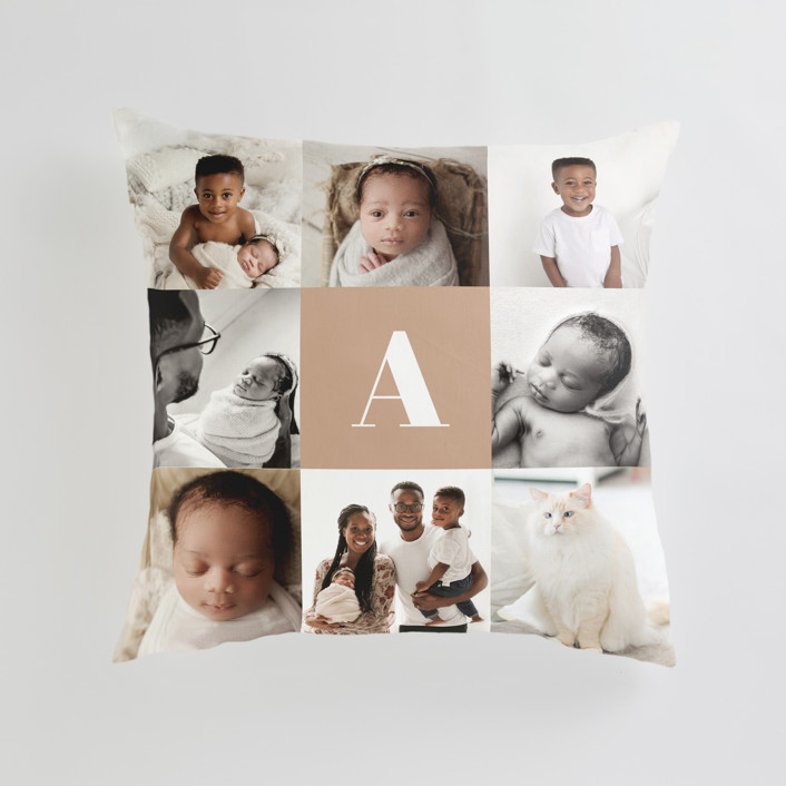 """""""Monogram Grid"""" - Large 24 Inch Photo Pillow in Mocha by Minted."""