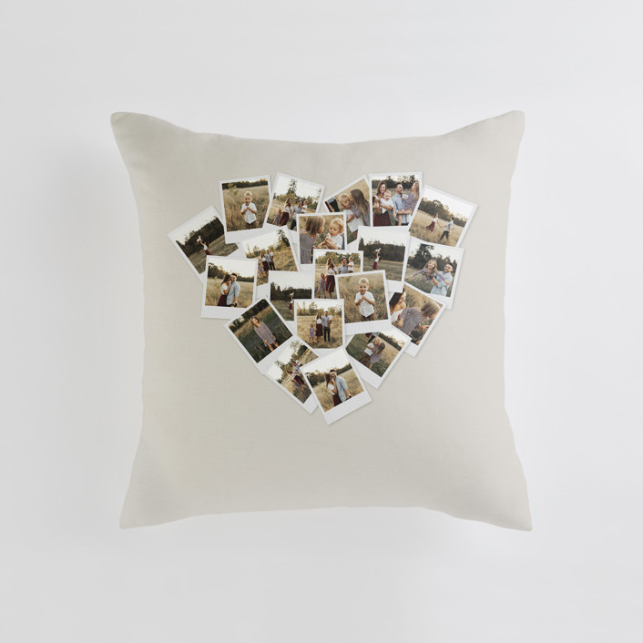 """""""Collage Heart"""" - Medium 20 Inch Photo Pillow in Warm Grey by Minted."""