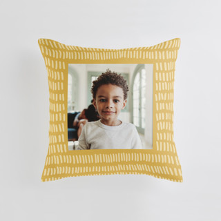 This is a yellow custom pillow by Katie Jarman called Division printing on premium cotton.