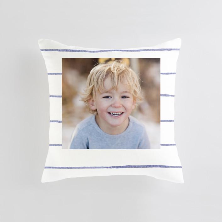 """Breton Stripe"" - Medium 20 Inch Photo Pillow in Cornflower by Melissa Selmin."