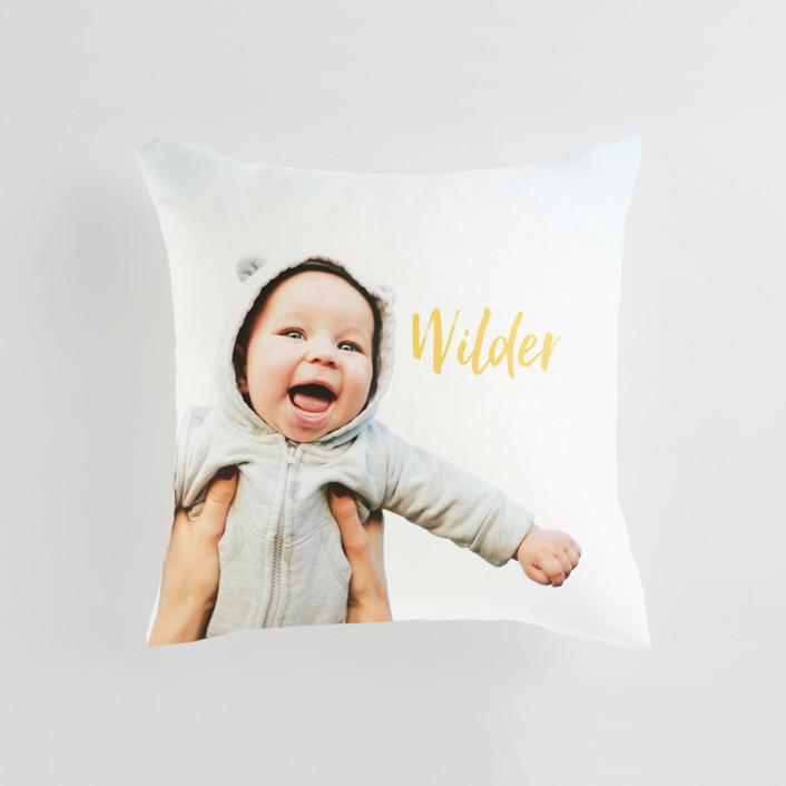 Simple Hello Medium Square Photo Pillow
