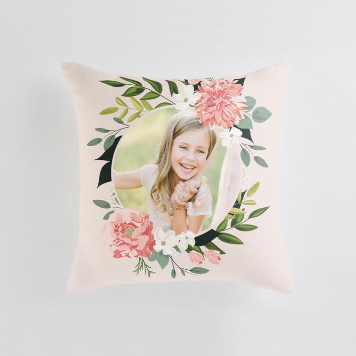 """Summer Shower"" - Medium 20 Inch Photo Pillow in Blush by Susan Moyal."