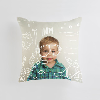This is a beige custom pillow by Amy James called Snorkel n' See printing on premium cotton.