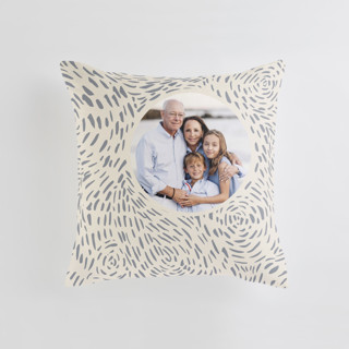 This is a beige custom pillow by Christina Flowers called Soft Cloud printing on premium cotton.