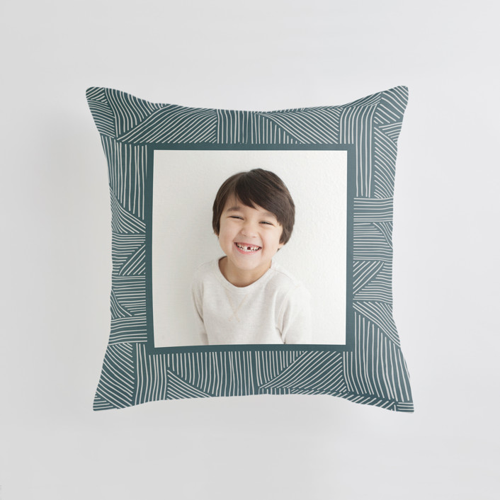 """""""Sketchbook Geometric"""" - Medium 20 Inch Photo Pillow in Spruce by Alethea and Ruth."""