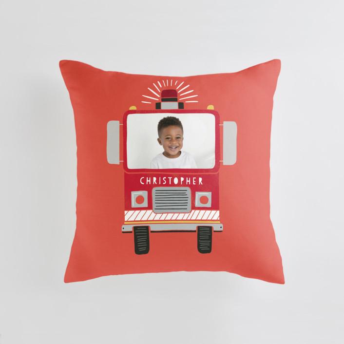 Sound the Alarm Firetruck Medium Square Photo Pillow