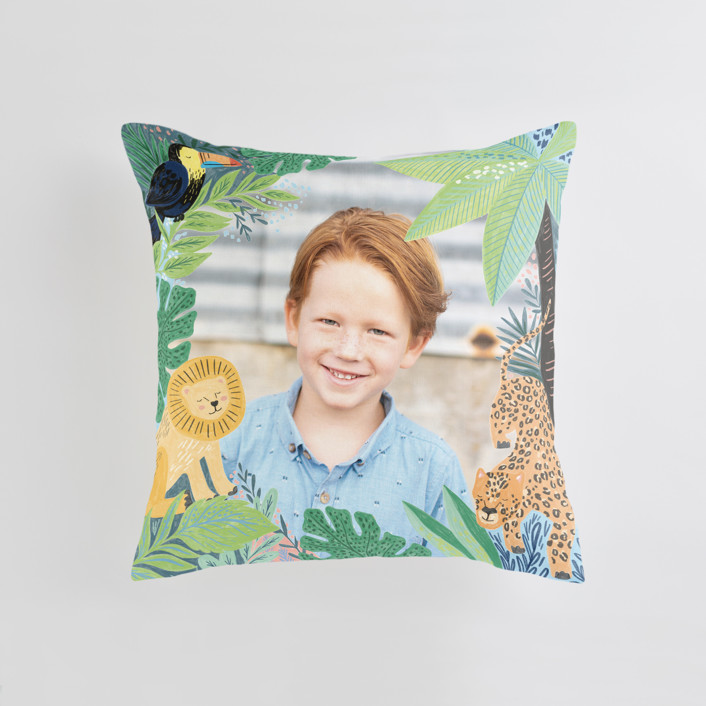 """Jungle Animal Sketchbook"" - Medium 20 Inch Photo Pillow in Canary by Alethea and Ruth."