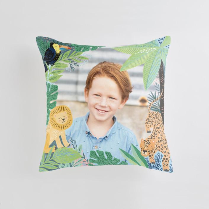 Jungle Animal Sketchbook Medium Square Photo Pillow