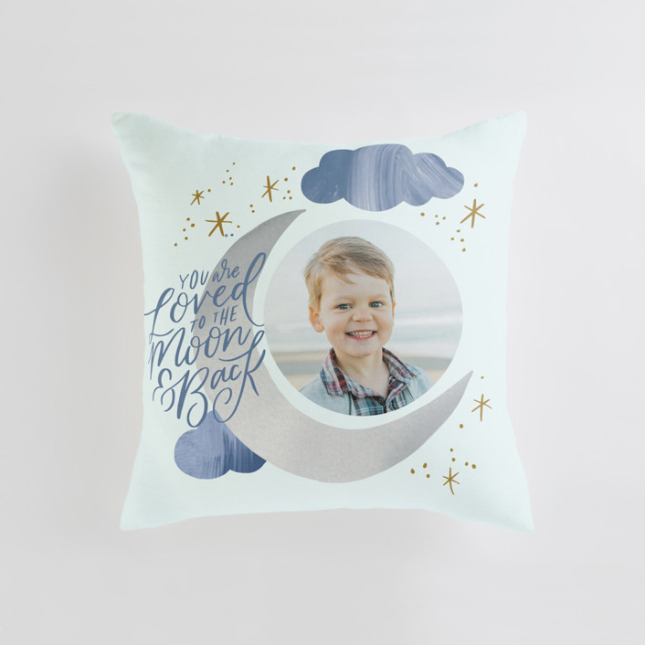 Moon and Back Cloudy Sky Medium Square Photo Pillow