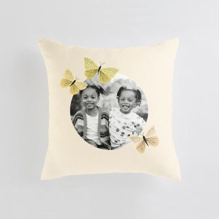 This is a yellow custom pillow by Karidy Walker called Garden Butterflies printing on premium cotton.