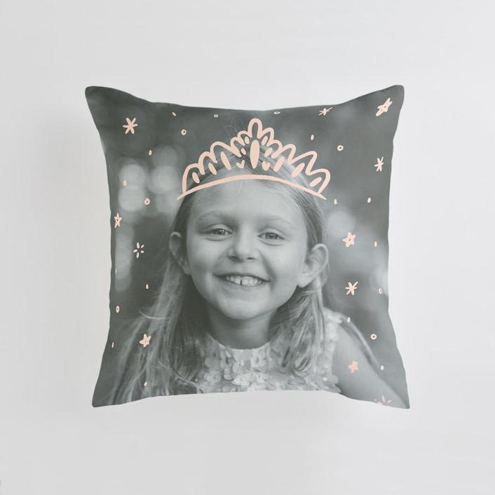 """Calling All Princesses"" - Medium 20 Inch Photo Pillow in Blush by Half Pint Studio."