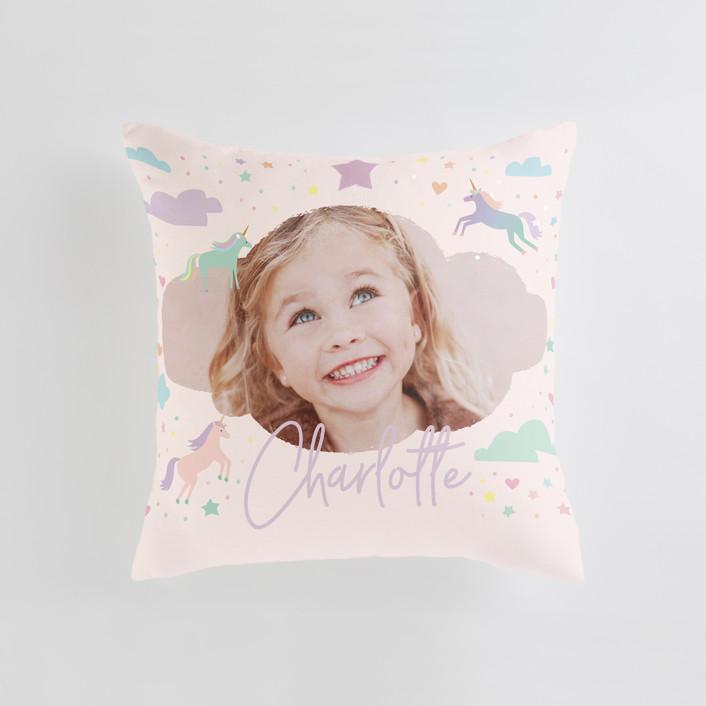 """Unicorn Dreams"" - Medium 20 Inch Photo Pillow in Majestic by Jennifer Wick."