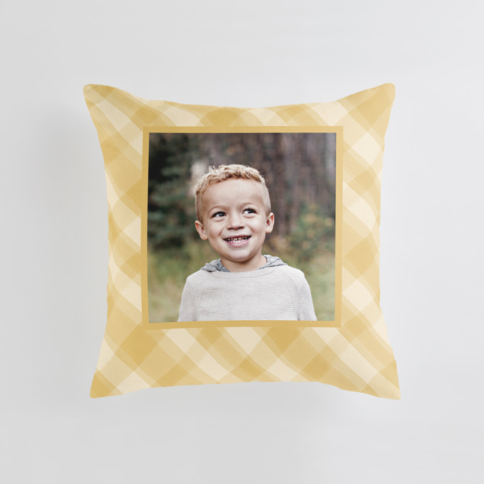 """""""Cadeau"""" - Medium 20 Inch Photo Pillow in Mustard by Carrie ONeal."""