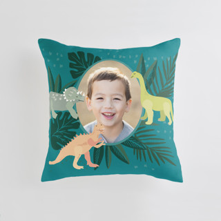 This is a blue custom pillow by Alethea and Ruth called Dino-mite printing on premium cotton.