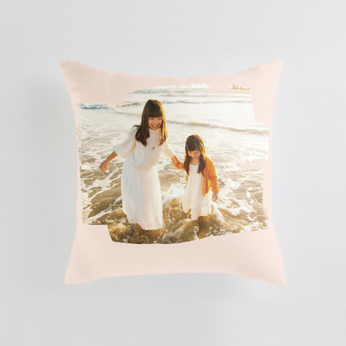 """""""Brushed Photo"""" - Medium 20 Inch Photo Pillow in Blush by Oscar and Emma - Karly Depew."""