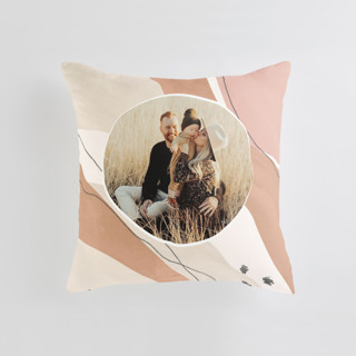 This is a brown custom pillow by Olivia Goree called Mod. printing on premium cotton.