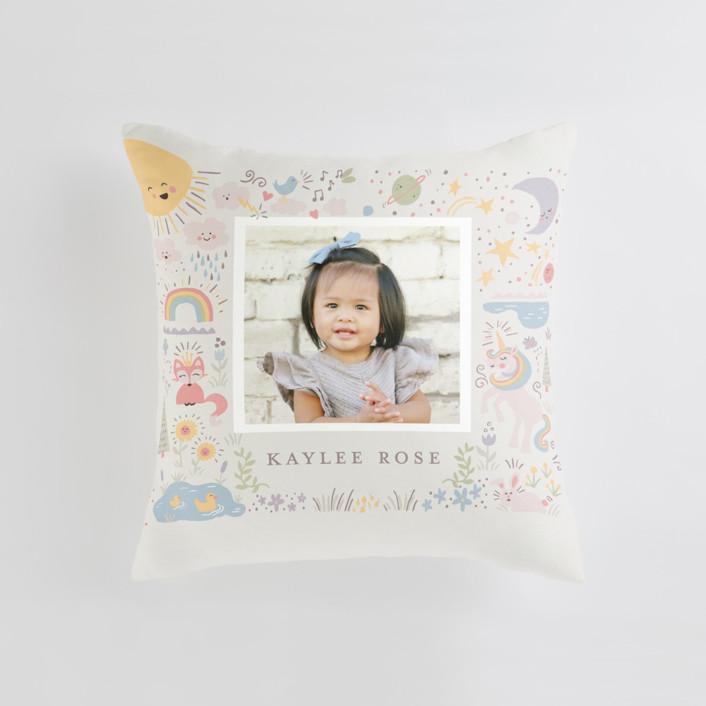 Cute World Medium Square Photo Pillow