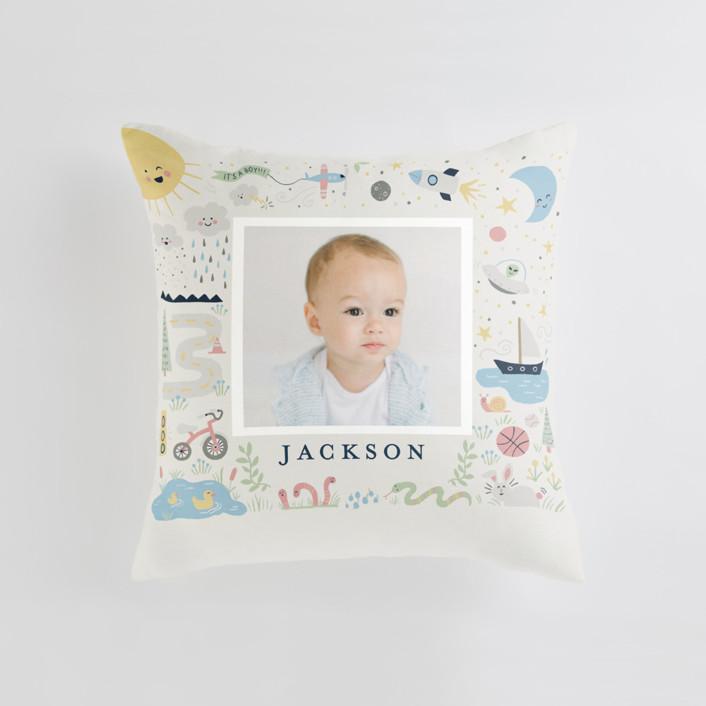 Cute Boy World Medium Square Photo Pillow