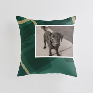 This is a green custom pillow by Four Wet Feet Studio called Painted Holiday Plaid printing on premium cotton.