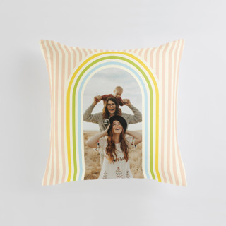 This is a beige custom pillow by Baumbirdy called Retro Stripes printing on premium cotton.