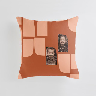 This is a brown custom pillow by Carrie Moradi called mod flock printing on premium cotton.