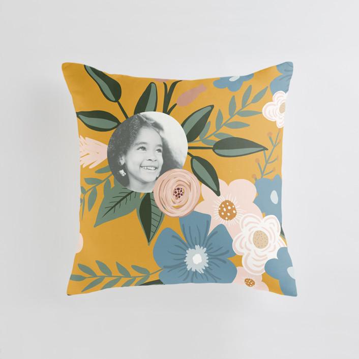 """Vintage Floral"" - Medium 20 Inch Photo Pillow in Dandelion by Juliana Zimmermann."
