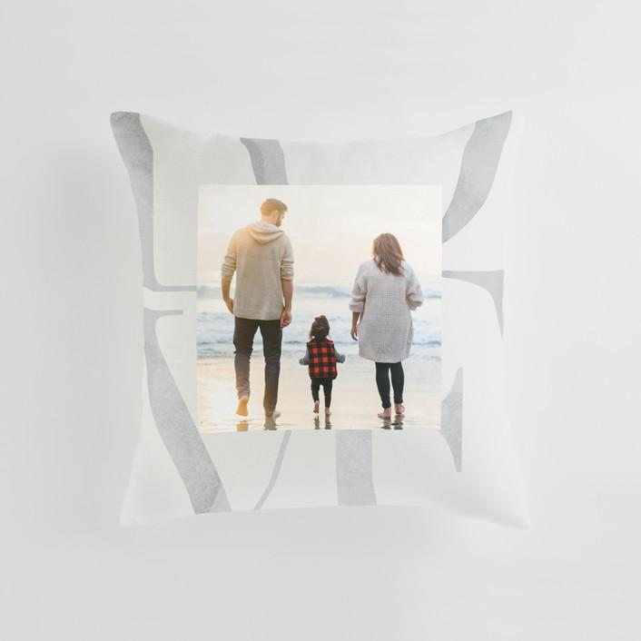 """Biggest Love"" - Medium 20 Inch Photo Pillow in Mist by Monika Drachal."