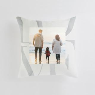 This is a grey custom pillow by Monika Drachal called Biggest Love printing on premium cotton.