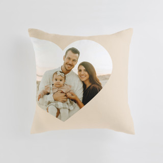 This is a beige custom pillow by Lori Wemple called Big Heart printing on premium cotton.