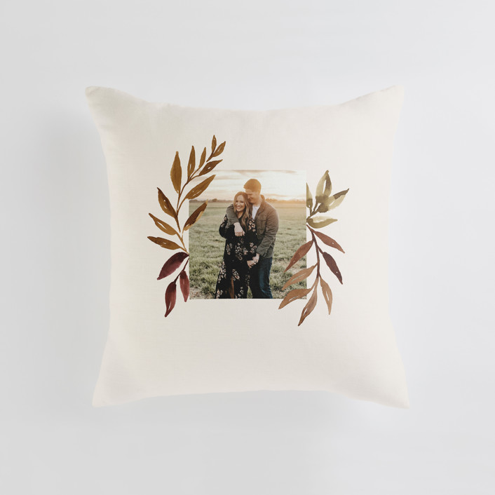 """""""botanical portrait"""" - Medium 20 Inch Photo Pillow in Leather by Kate Ahn."""