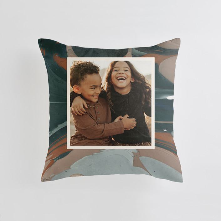 """""""Love Story"""" - Medium 20 Inch Photo Pillow in Turquoise by Kate Ahn."""