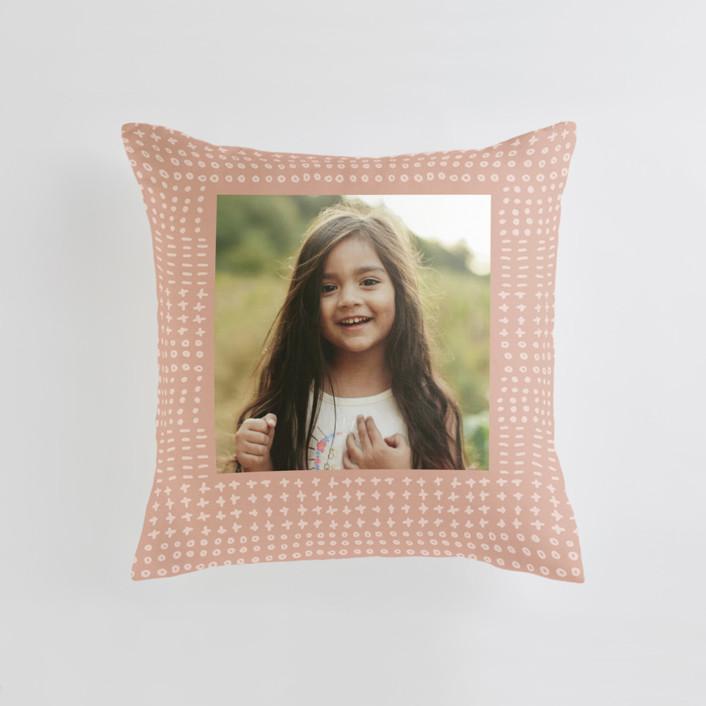 Dot Dash - Warm Medium Square Photo Pillow