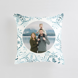 This is a blue custom pillow by Angel Walker called Wintery Flurry printing on premium cotton.