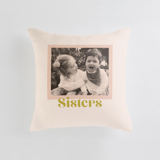 This is a pink custom pillow by Annie Clark called Tinted Frame printing on premium cotton.