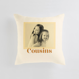 This is a yellow custom pillow by Annie Clark called Cousins Tinted Frame printing on premium cotton.