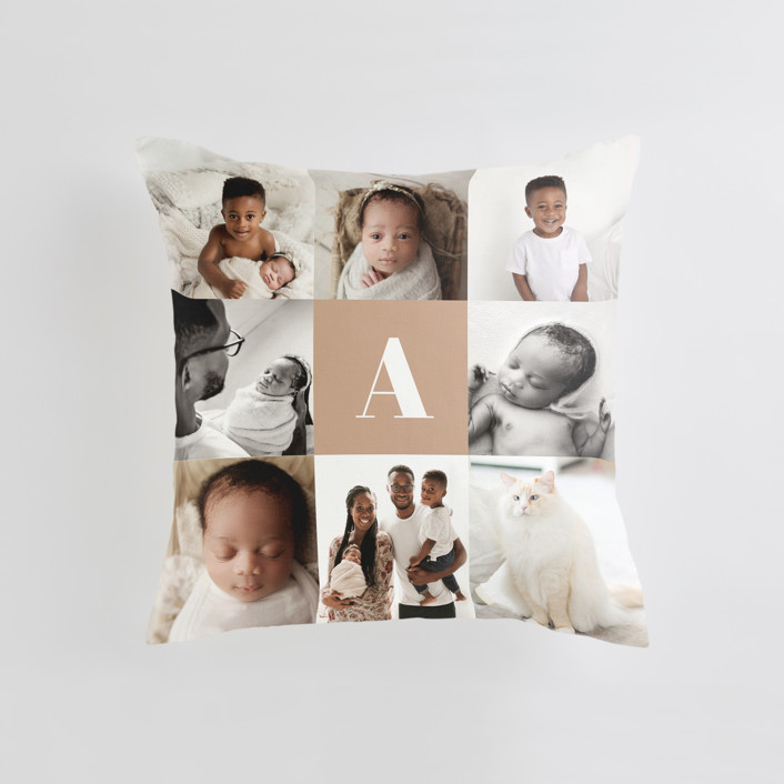 """Monogram Grid"" - Medium 20 Inch Photo Pillow in Mocha by Minted."