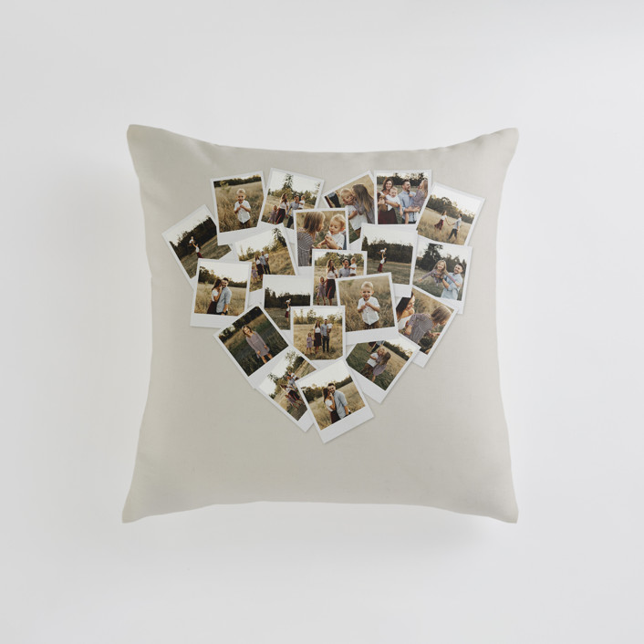 """""""Collage Heart"""" - Small 18 Inch Photo Pillow in Warm Grey by Minted."""