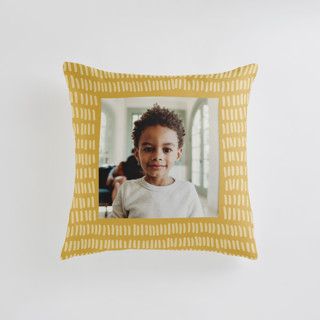 This is a yellow custom pillow by Katie Jarman called Division printing on premium cotton in standard.