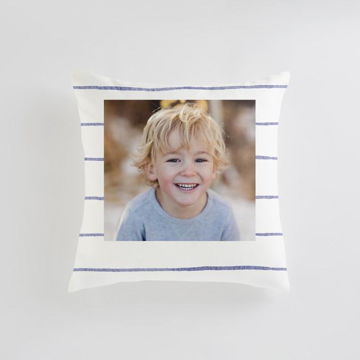 """""""Breton Stripe"""" - Small 18 Inch Photo Pillow in Cornflower by Melissa Selmin."""