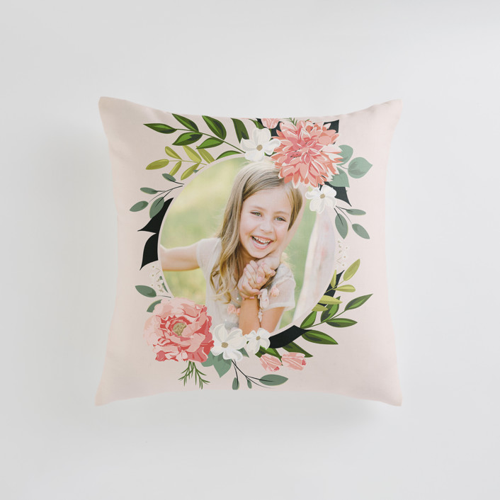 """""""Summer Shower"""" - Small 18 Inch Photo Pillow in Blush by Susan Moyal."""