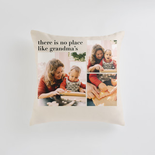 This is a beige custom pillow by Aspacia Kusulas called Everlasting Cheer printing on premium cotton in standard.