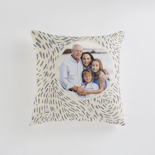This is a beige custom pillow by Christina Flowers called Soft Cloud printing on premium cotton in standard.